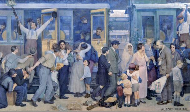 Peinture d'Alfred Herter : départ au front des soldats français en 1914.