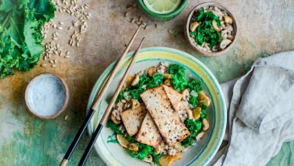Sauté de tofu, topinambour et kale