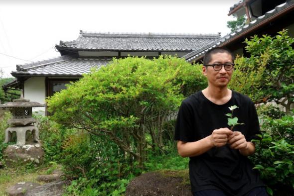 Sugi-sensei, maître d'ikebana, compose ses chefs-d'œuvre à partir de simples fleurs du jardin.