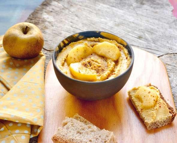 Houmous au jus de pomme caramélisée