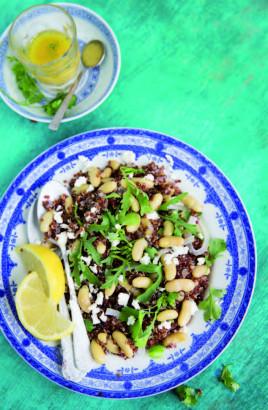 Salade de quinoa rouge et de flageolets