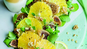 Salade de cresson, figues et oranges