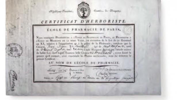 Certificat d'herboriste délivré en 1804